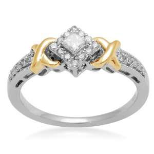 10K Two Tone Gold Diamond X Tab Bridal Ring (1/3 cttw, I J