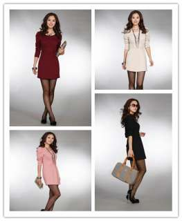 FANCYQUBE CHIC CREW NECK PUFF SLEEVE SLIM DRESS 1636