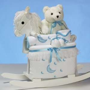 White Wooden Rocking Horse Gift Set for New Baby Boys   Great Shower