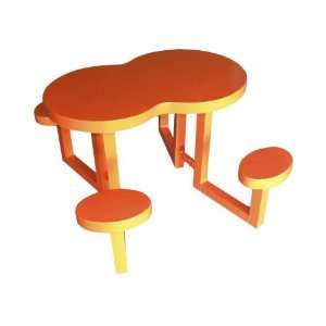Theme Tables 337A0013 Kids Serpentine Aluminum Picnic Table, Orange