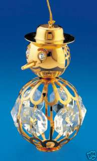 Large SWAROVSKI Crystals BeJeweled 24K GOLD Plated SNOWMAN Figurine
