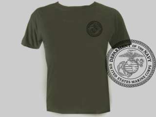 USA Army Marines USMC OD Green Military mens tee shirt