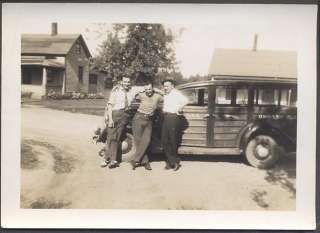 Car Photo 3 Men w/ 1936 Ford Woodie Station Wagon Hanks Oswosso