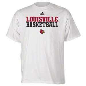 Louisville Cardinals White adidas Basketball Sideline T
