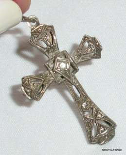 ANTIQUE ART DECO STERLING SILVER CROSS PENDANT. ELEGANT. I HAVE MORE