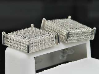 MENS WHITE GOLD FINISH 3D CUBES DIAMOND STUDS EARRINGS