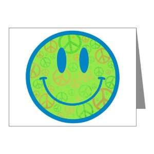 Note Cards (20 Pack) Smiley Face With Peace Symbols