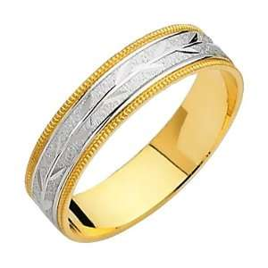 14K Yellow and White Two Tone Gold Satin Milgrain Engraved