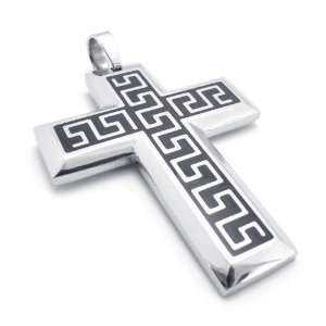 Mens Hail Stainless Steel Cross Pendant Necklace Jewelry
