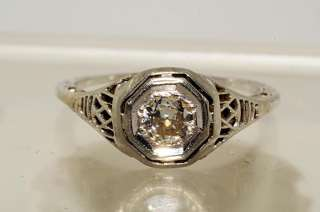 2500 .39CT ANTIQUE ART DECO EUROPEAN CUT DIAMOND ENGAGEMENT RING 18K