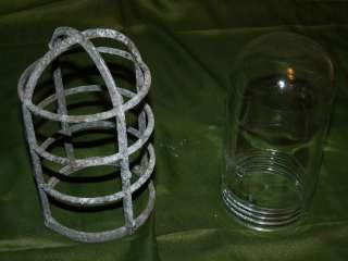 Vtg Industrial Age METAL LAMP CAGE W/ ROUND END Screw JAR SHADE PG CO