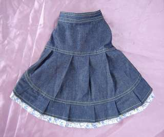 Dog Clothes Blue Denim Dress size Medium 5 to 8 pounds