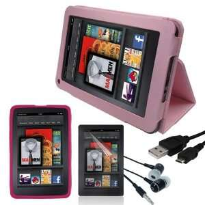 Premium Pink Leather Cover + Pink Silicone Skin Case