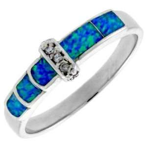 Sterling Silver, Synthetic Opal Inlay Ring w/ CZ Stone accents, 3/16