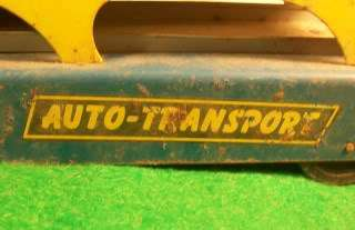 Vintage AUTO TRANSPORT Toy Truck Car Mover Yellow Blue