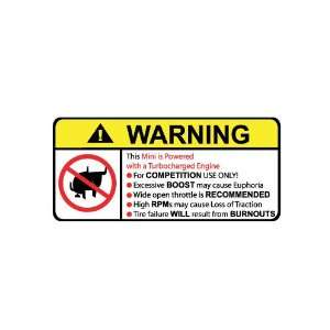 Mini Turbocharged No Bull, Warning decal, sticker