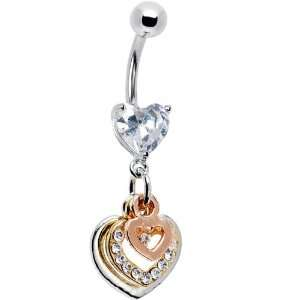 Triple Tone Gem Paved Heart Belly Ring Jewelry