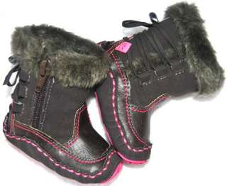 Brown fur toddler baby girl shoes boots size 1