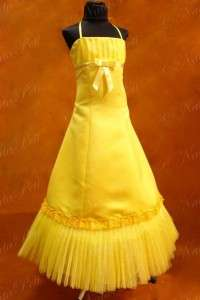 NEW PAGEANT FLOWER GIRL HOLIDAY PRINCESS DRESS 3969 YELLOW SIZE 6 8