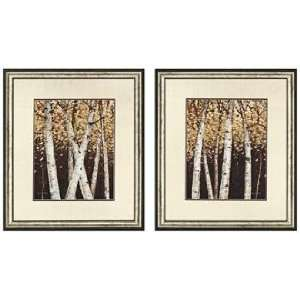 Set of Two Shimmering Birches Framed Wall Art