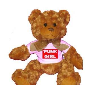 PUNK GIRL Plush Teddy Bear with WHITE T Shirt Toys