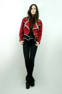 Red Gold METALLIC Unisex Biker MILTARY Marching Band JACKET Blazer M