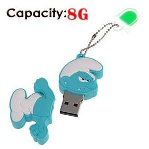 8G Rubber USB Flash Drive with Shape of Angry Smurfs Electronics