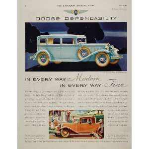 1931 Ad Blue Dodge Eight Sedan Coupe Rumble Seat Car   Original Print
