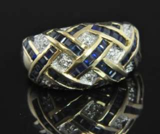 Franklin Mint Bill Blass 14K Gold Sapphire Diamond Ring