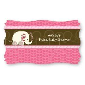 com Twin Pink Baby Elephants   Set of 8 Personalized Baby Shower Name