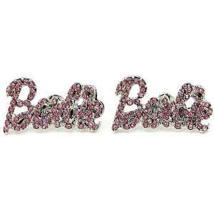 Nicki Minaj Barbie Iced Out Crystal Earrings Silver Color With Pink