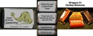 DINOSAUR BIRTHDAY PARTY Personalized Miniatures candy Wrappers Favors