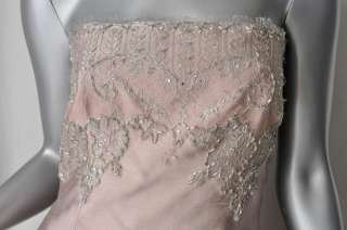 LIANCARLO COUTURE SILK+LACE Shawl Beaded Gown Dress 4/6