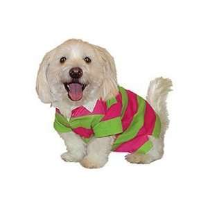 Spring Striped Rugby Dog Shirt (Hot Pink and Lime, XLarge