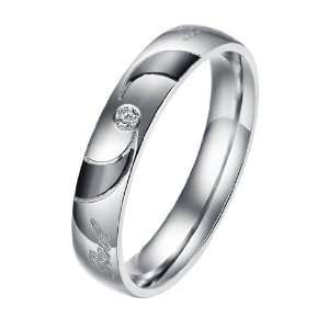 Zirconia Stone Inlay Mens Ladies Titanium Stainless Steel Rings (Mens