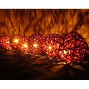 Brown Rattan Ball Patio Party String Lights (20/set)