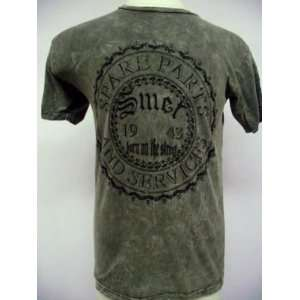 CHRISTIAN AUDIGIER MENS SMET GARAGE PARTS ACID WASH TEE NWT olive Size