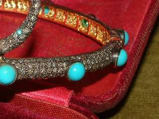 14 Karat gold 5.00 CARAT DIAMOND TURQUOISE SNAKE BANGLE