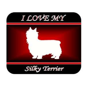 I Love My Silky Terrier Dog Mouse Pad   Red Design