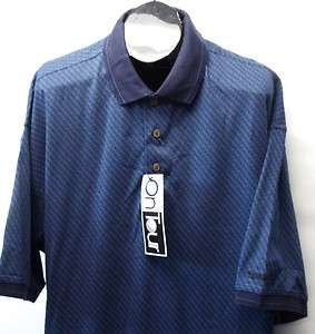 New Mens Blue XXL On Tour Combed Cotton short sleeve golf polo shirt