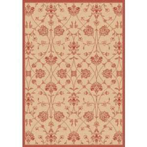 Dynamic Rugs Piazza Parisian Indoor/Outdoor Area Rug   Natural/Red, 5