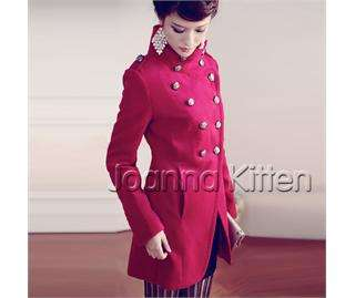 Korea Japan Women Fashion Lady Winter Woolen Double breasted Trench