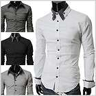 ST29) THELEES NWT Mens casual double collar cuff slim fit dress