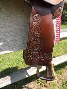 15 Seat Used Circle Y Spot Tooled & Suede Leather Barrel Racing