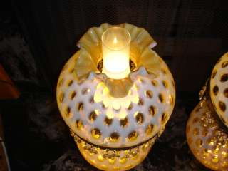 Fenton Honeysuckle Opalescent Coin Dot GWTW lamp