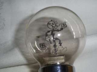 Rare Vintage Reddy Kilowatt Light Bulb Chrome Fixture