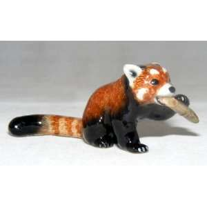 PANDA BEAR RED sits and crouches and chews on BAMABOO MINIATURE New