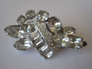 EISENBERG Prong Set Baguette Marquise Glass Rhinestone Pin Brooch