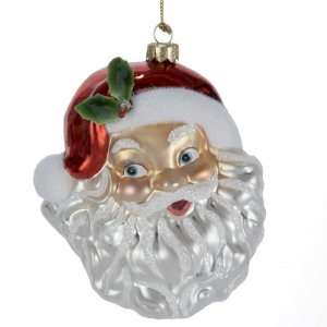 Kurt Adler 4.7 Inch Glass Santa Head Ornament