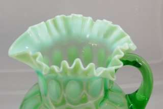 c1905 Jefferson Green Opalescent Coinspot Water Pitcher Ruffled Top